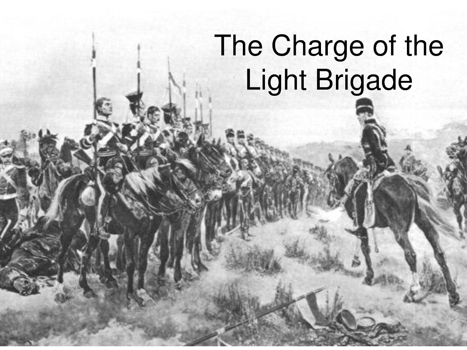 charge of the light brigade Charge of the light brigade, (oct 25 [oct 13, old style], 1854), disastrous british  cavalry charge against heavily defended russian troops at the battle of.