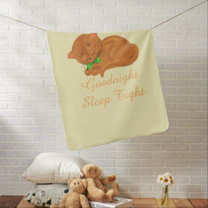 Cute Sleepy Kitty Baby Blanket | Zazzle.com #sleepykitty
