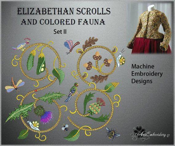 Elizabethan Scrolls And Colored Fauna Set Ii Gold Work Imitation
