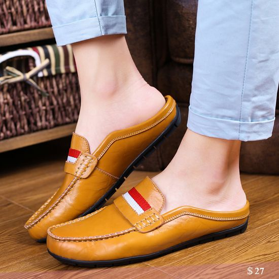 US $27 Luxury Brand Boat Shoes Summer Men Shoes Backless Loafers Open Backs  Shoes Without Back