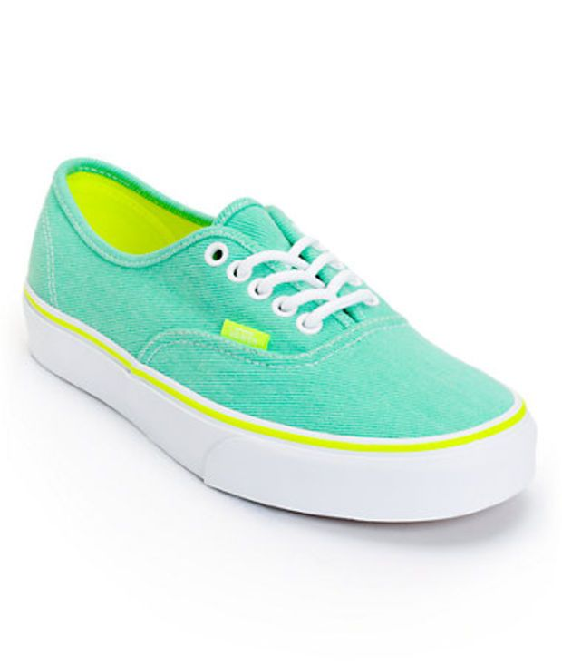 Vans Girls Authentic Aqua Green & Yellow Washed Twill Shoe