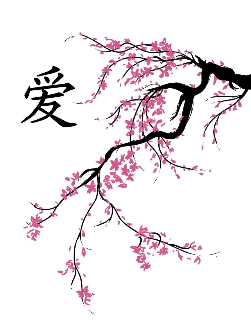 Sakura Branch Tato Jepang Tato Pohon Menggambar Bunga