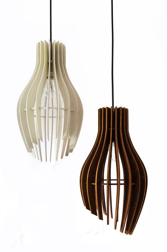 Mid century modern style ceiling light Designer light Hanging lamp with hand turned oak shade Wood pendnat lamp