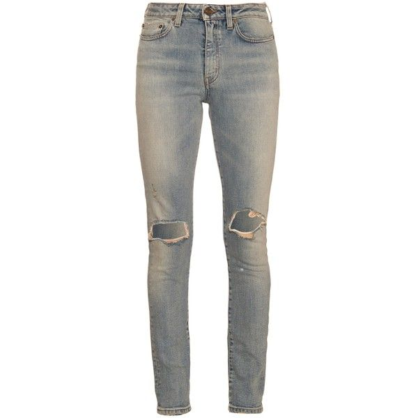 Saint Laurent Distressed mid-rise skinny jeans ($657) ❤ liked on Polyvore featuring jeans, pants, bottoms, denim, destructed skinny jeans, distressed jeans, destroyed denim jeans, blue skinny jeans and mid rise skinny jeans