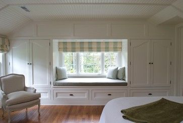 I love how the window seat is made by covering the wall in ...