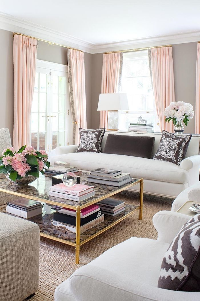 33 pink and gray modern living room decor  pink living