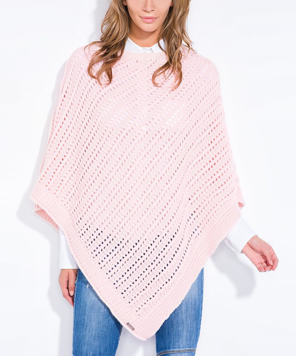 This Fobya Pink Powder Open-Knit Poncho by Fobya is perfect! #zulilyfinds
