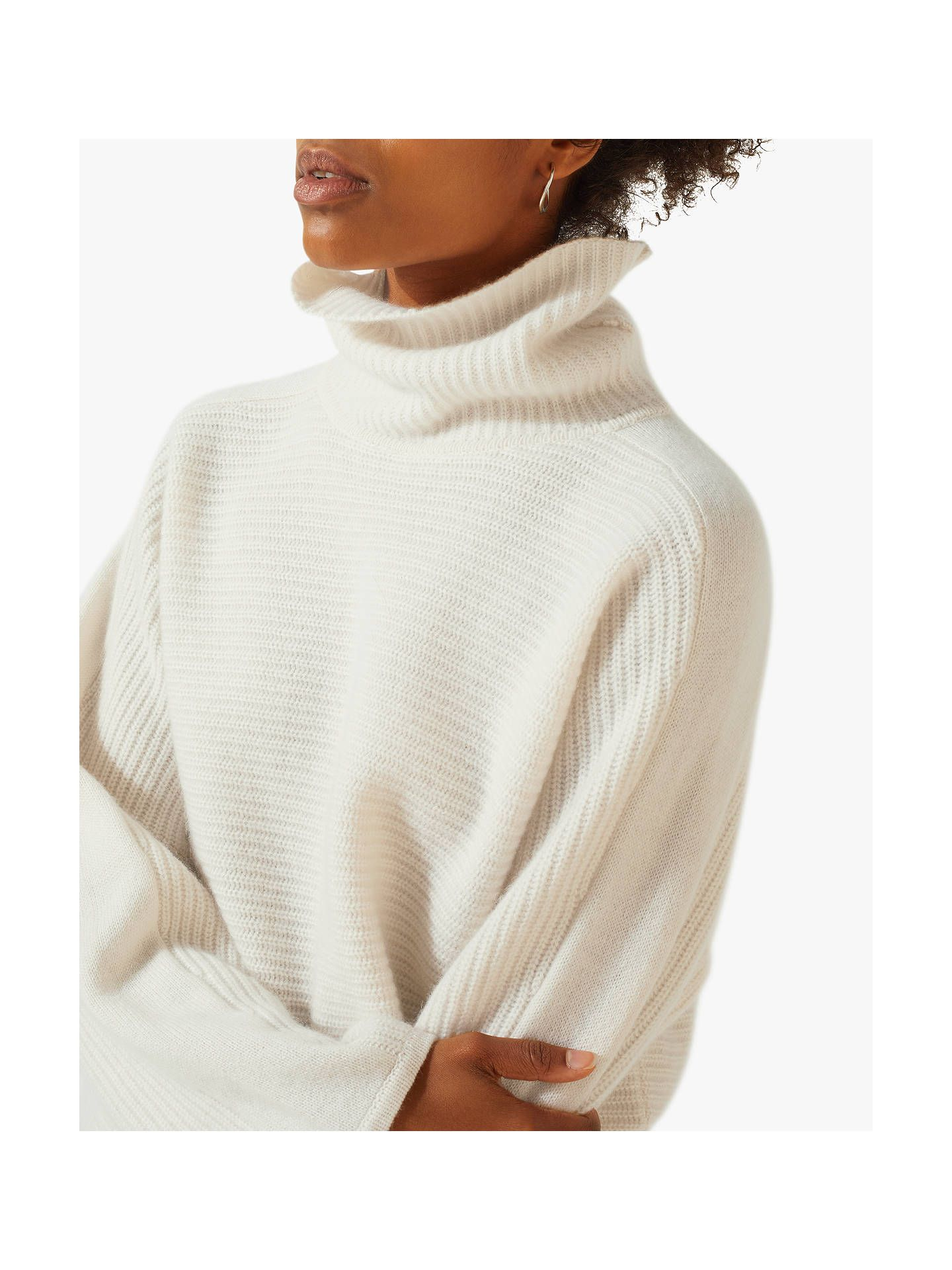 293005a1d9d1e BuyJigsaw Ribbed Cashmere Jumper, Ivory, S Online at johnlewis.com ...