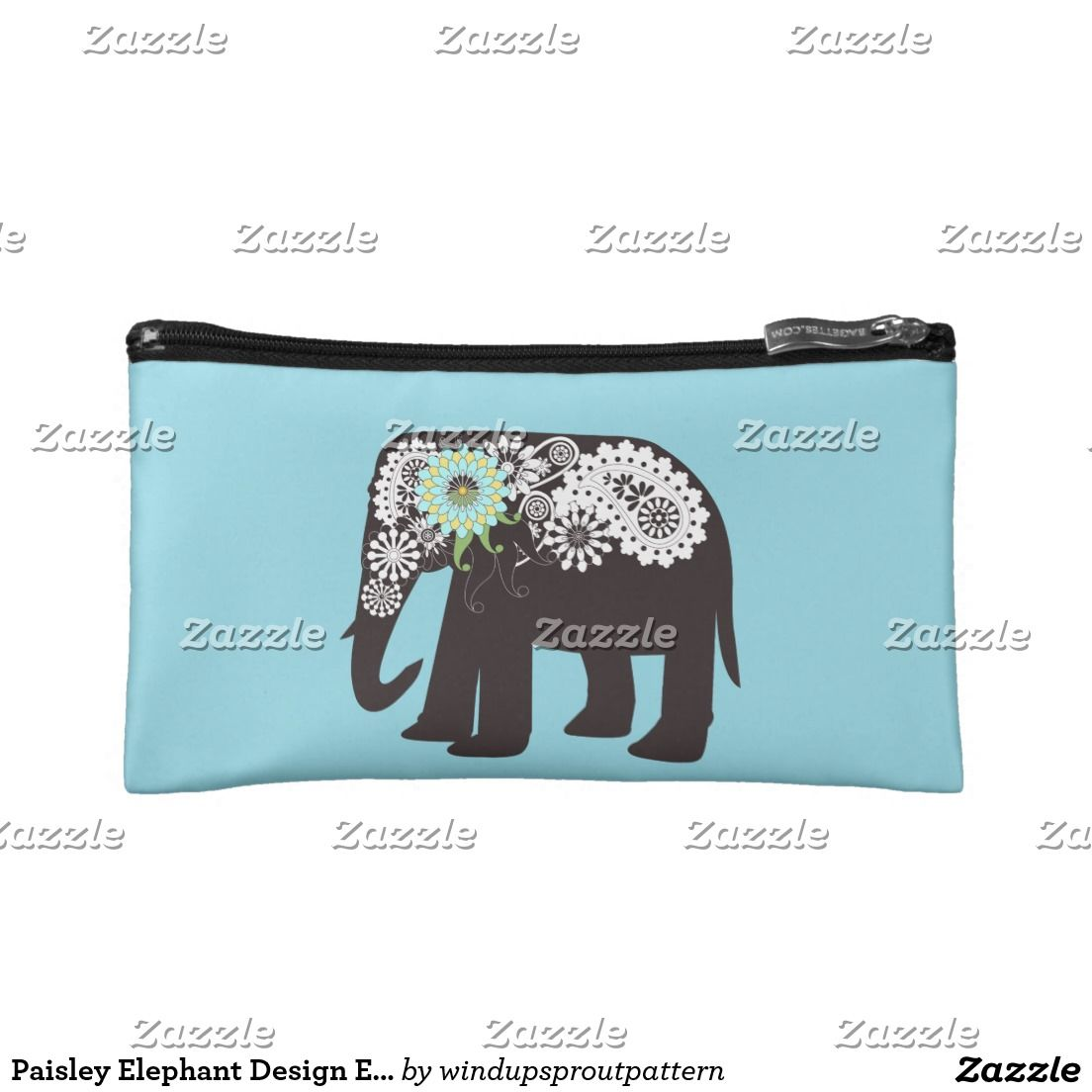 Paisley Elephant Design Elegant Cute Light Blue Makeup Bag by Wind up Sprout.