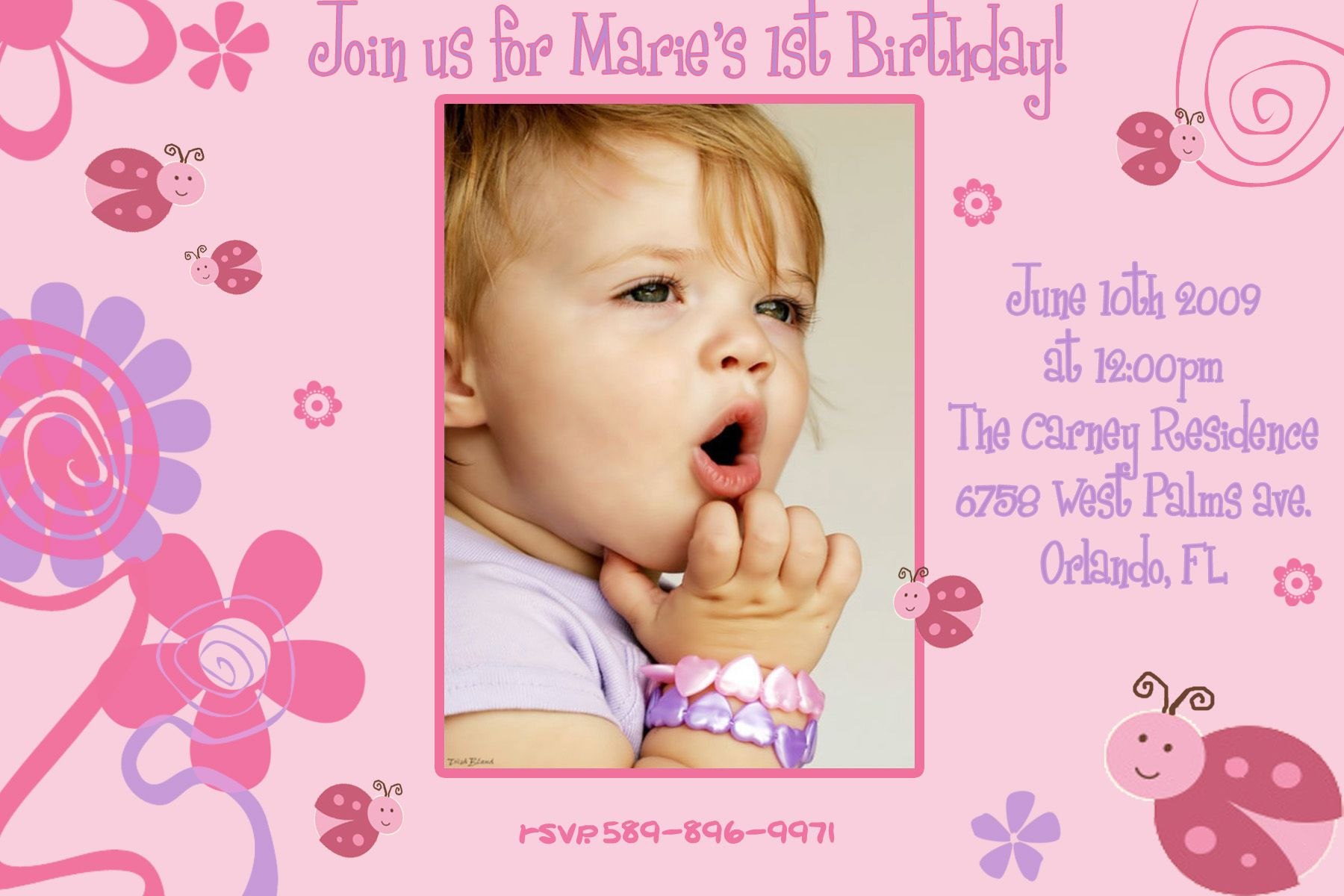 First Birthday Invitation Template Birthday Card Template Free