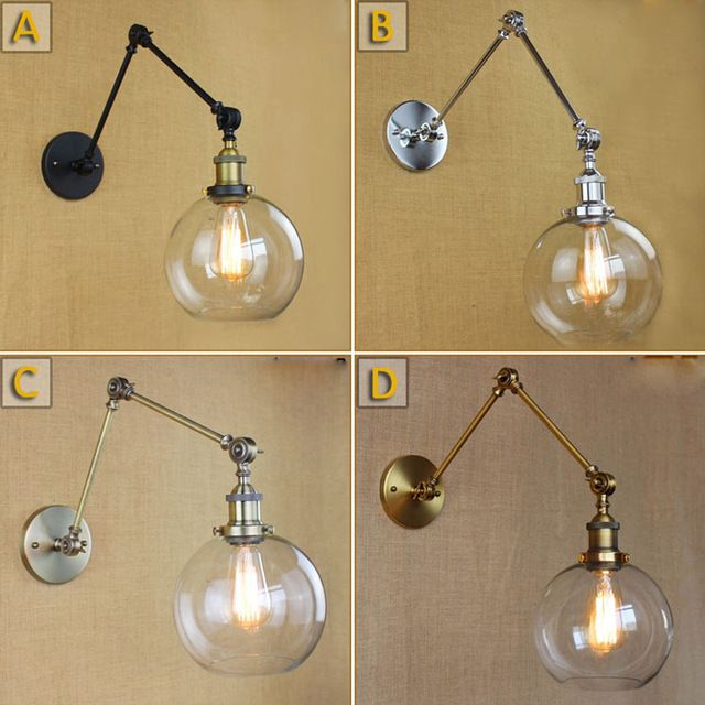 Wall Light Sconces Brace Lamp Shades Retro Double Swing: Retro Two Swing Arm Wall Lamp Glass Shade Wall Sconces