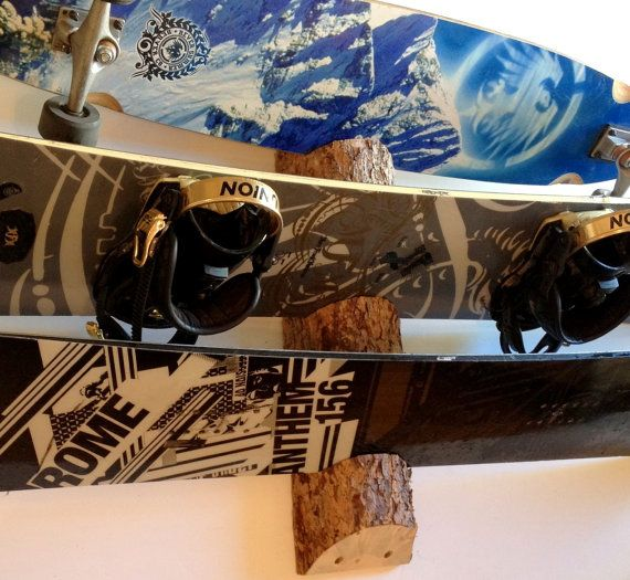 Natural Log Skateboard Snowboard Wall Rack Mount
