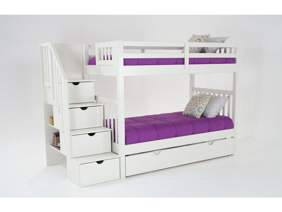 Twin Over Twin Bunk Bed With 2 Twin Perfection Innerspring Mattresses And Storage Trundle Unit - bunk beds with storage