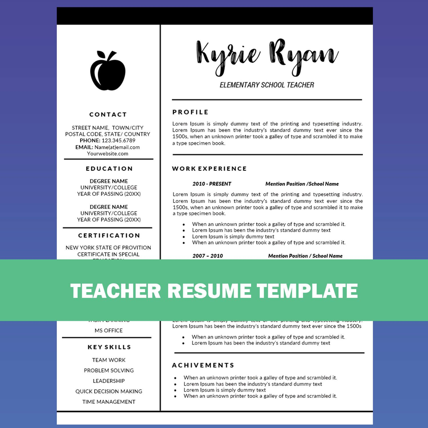 Teacher Resume Template Word / Cover Letter Template