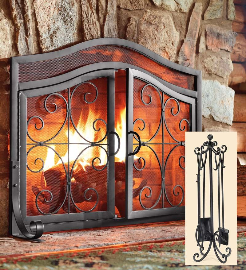 Black Iron Fireplace Screen. Small Crest Fireplace Screen With Doors  in Copper Finish Plow Hearth Exclusive Ornamental scrollwork solid wrought iron sets our exclusive Large And Tool Set this one also