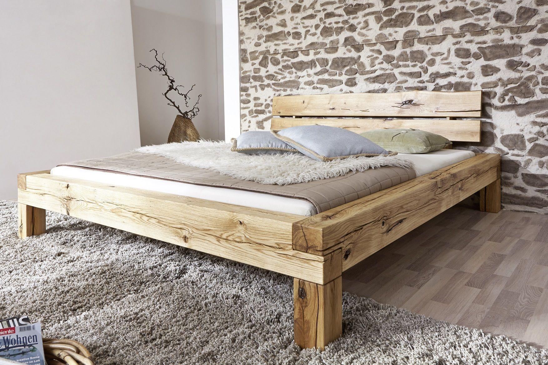 Doppelbett 180x200cm Wildeiche Geölt Manuel Bed Design Wooden Bed Furniture