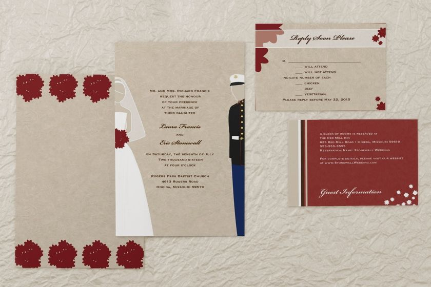Military Themed Marines Usmc Rectangle Wedding Invitation By Magnetstreet