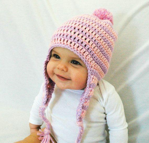 Baby Girl Winter Hat Pink And Purple Hat Crochet Hat Newborn Baby Hat Earflaps Girl Hat 3 6 12 Mont Baby Girl Winter Hats Girls Crochet Hats Crochet Hats