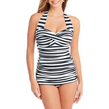 b015982d7c17e Suddenly Slim By Catalina Women's Slimming Shirred Halter One-Piece Swimsuit,  Size: Large, Multicolor