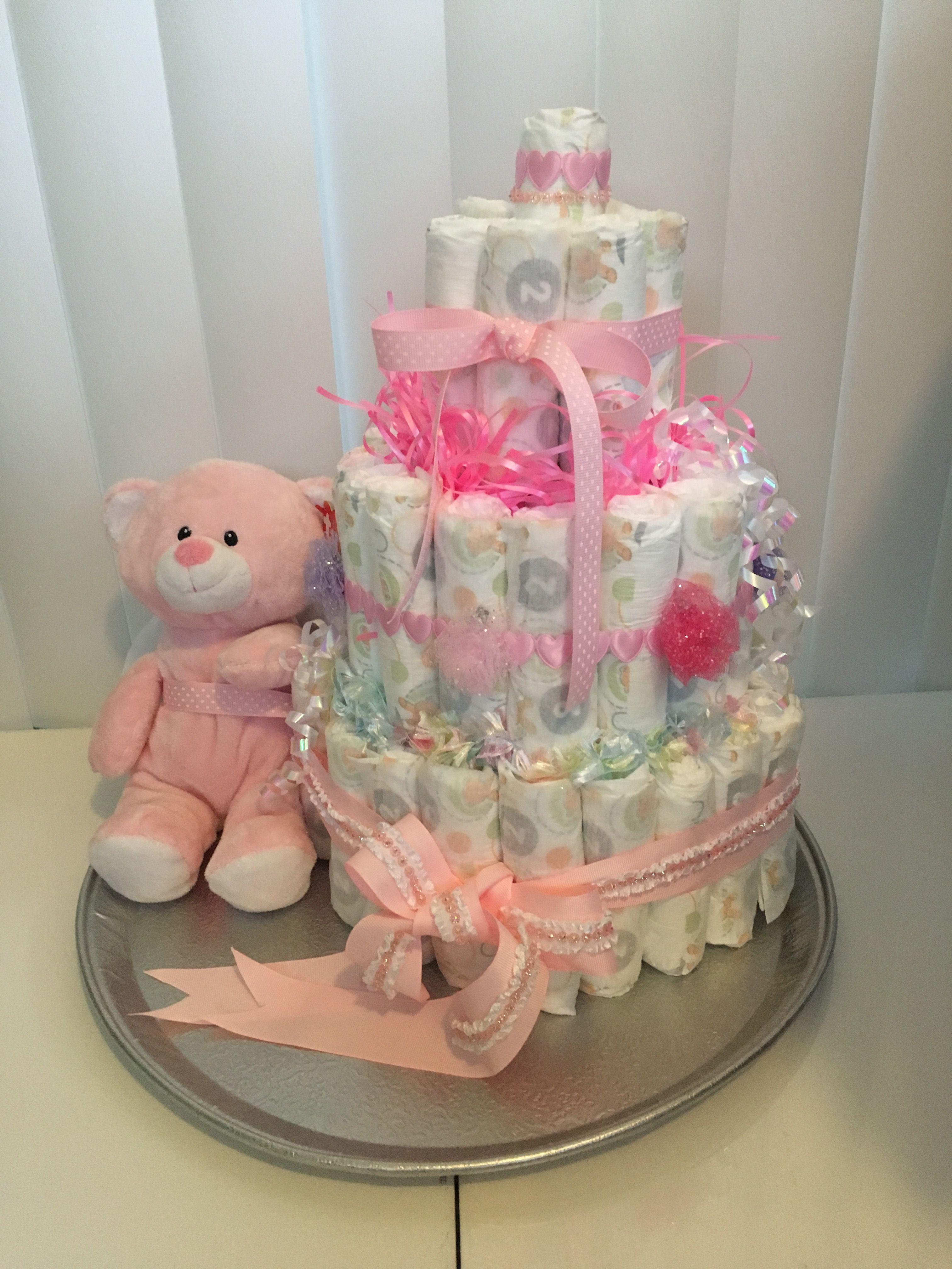 Baby girl diaper cake so much fun to make baby girl