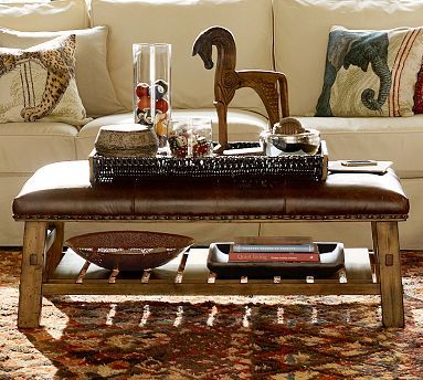 Leather Ottoman Coffee Table Pottery Barn.Caden Equestrian Upholstered Rectangular Ottoman Leather Chocolate