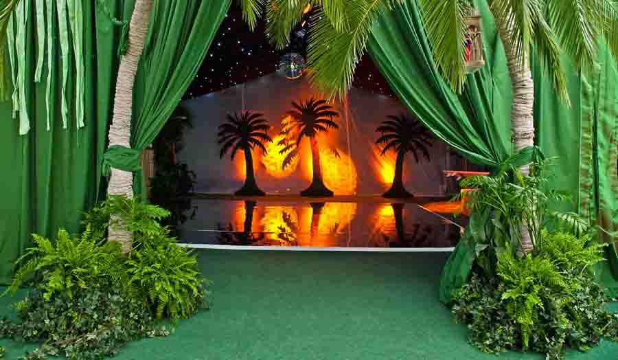 The Entrance To A Tropical Themed Marquee Created For A