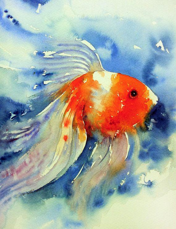 Gouden Vis Aquarel Oorspronkelijke Wall Art Schilderen En 2019