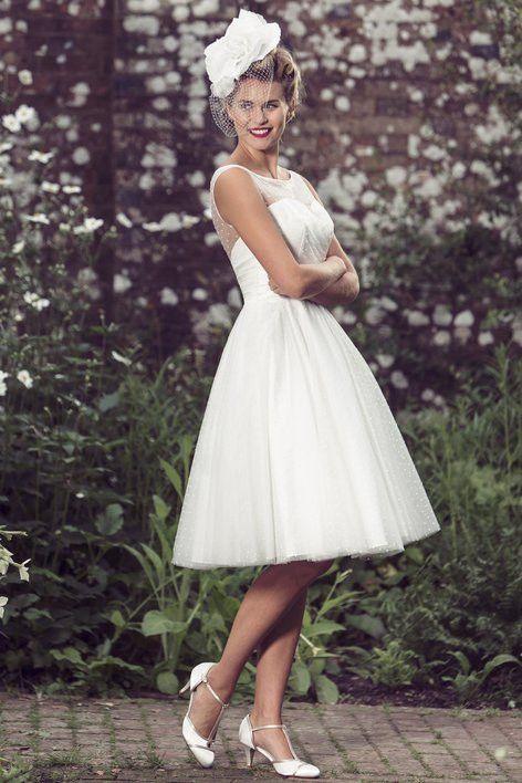 Tb Brenda Short Retro Fifties Spotty Tulle Bridal Dress