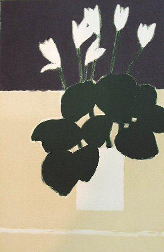 白いシクラメン 花のスケッチ フラワーアート 花 イラスト