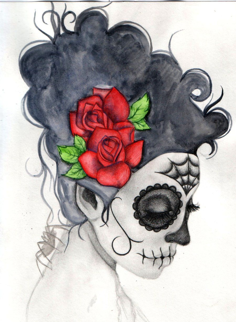 Day Of The Dead Water Colour Sugar Skull Art Day Of The Dead