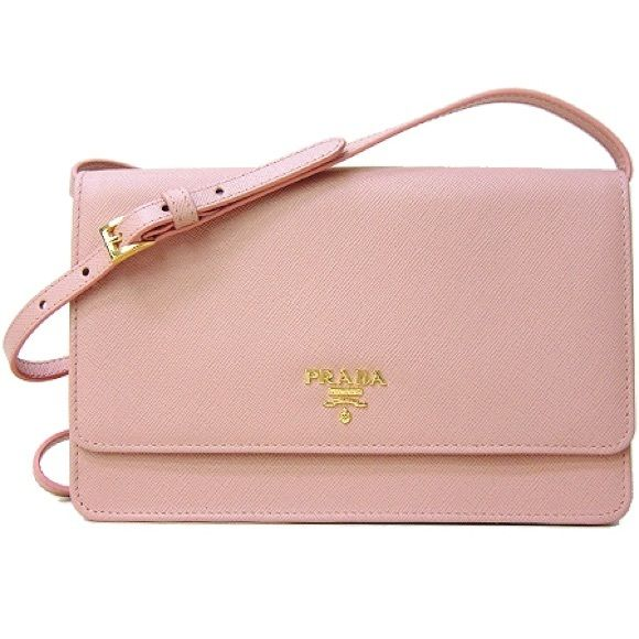 4306cf002bcea7 PRADA SAFFIANO LEATHER WALLET WITH STRAP PRADA SAFFIANO LEATHER WALLET WITH  STRAP PALE PINK Material: