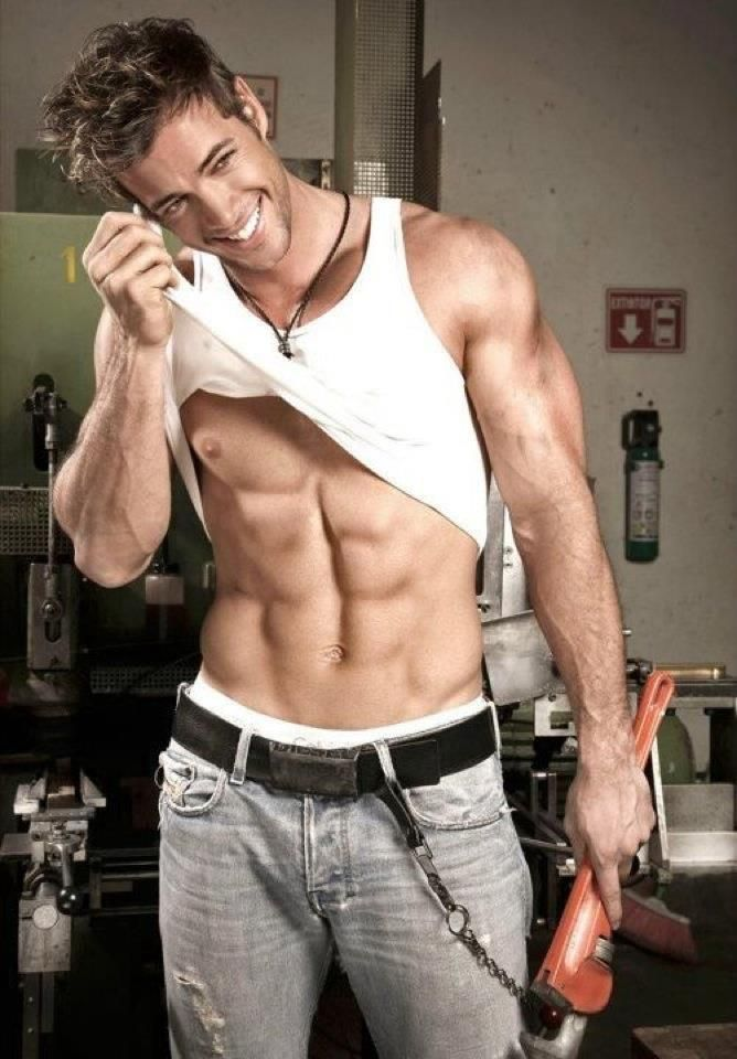 William Levy & his six pack...arms aren't bad either...lol