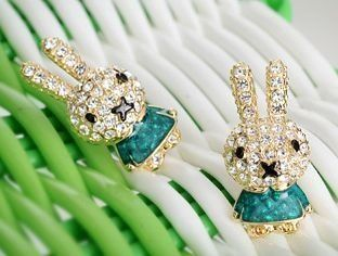 Easter Rabbit Green Bunny Rabbits Stud Postback Earrings By