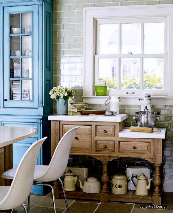 Teal Kitchen Oak Cabinets: Teal Blue Cabinets In A Country Style Kitchen Featured In