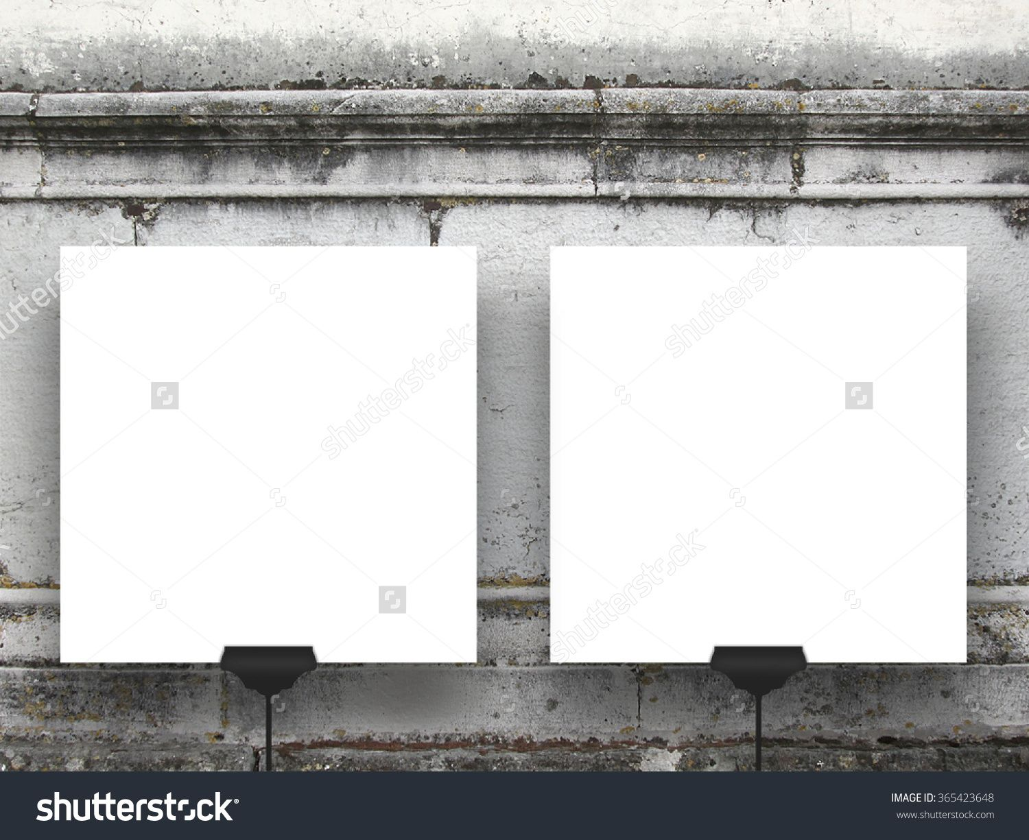 Two #blank #square #paper #sheets #frames on #weathered #stone ...