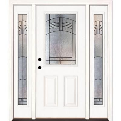 Feather River Doors 67 5 In X 81 625 In Rochester Patina 1 2 Lite Unfinished Smooth Right Hand Fiberglass Prehung Front Door W Sidelites 873191 3b4 Vitrales Casas Bonitas Decoracion De Unas