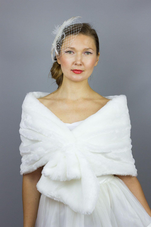 Off White Faux Fur Shrug Stole Stole shawl wedding dress