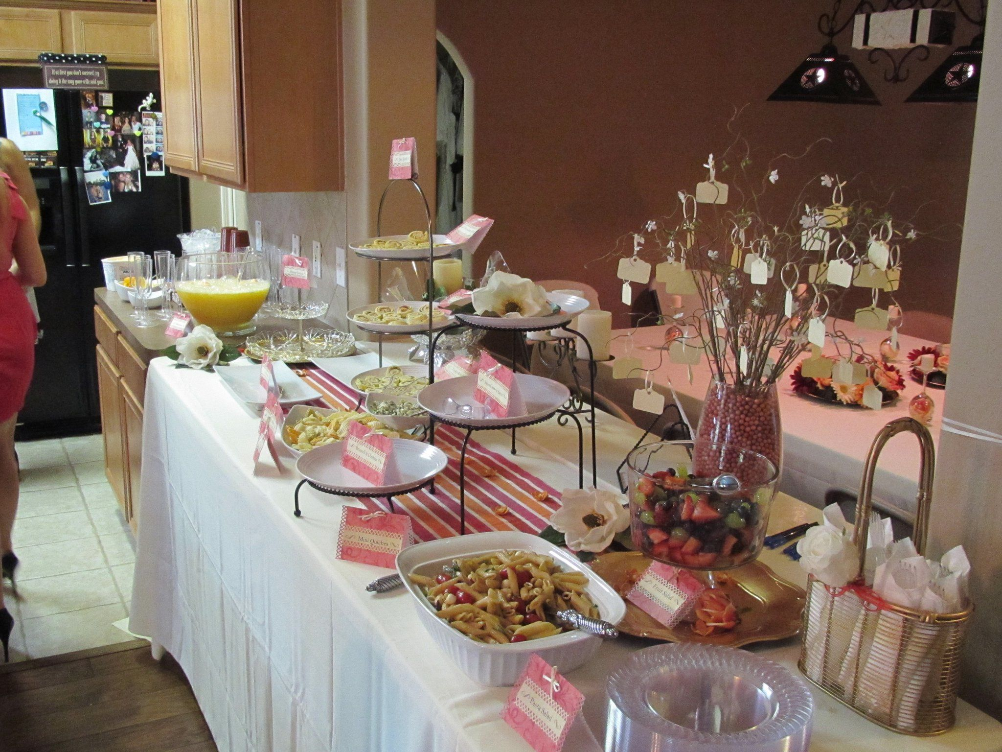 Bridal shower food buffet buffet table ideas pinterest for Decorating ideas for buffet tables