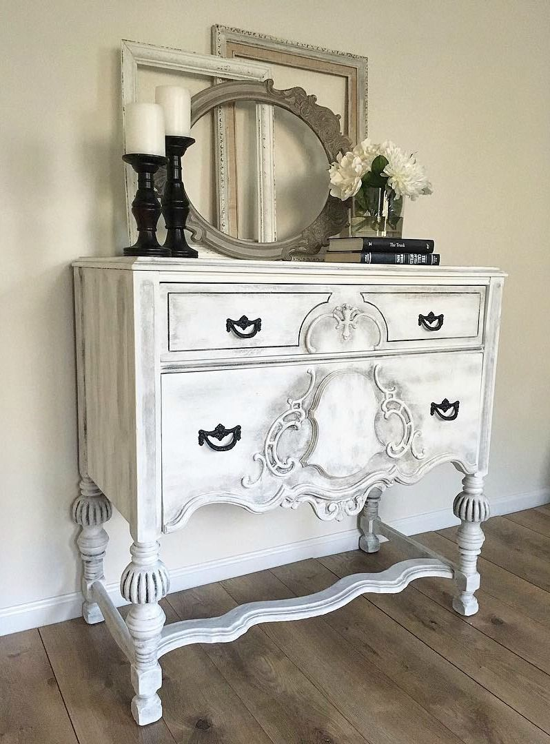 Old Made New This Small Sideboard Table Was Revamped With Chalk Paint In Pure White Wi White Chalk Paint Furniture Bedroom Furniture Makeover White Furniture