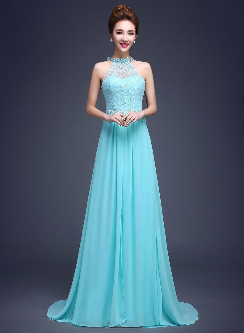 Mint tiffany blue halter top brides bridesmaids long dress bridal