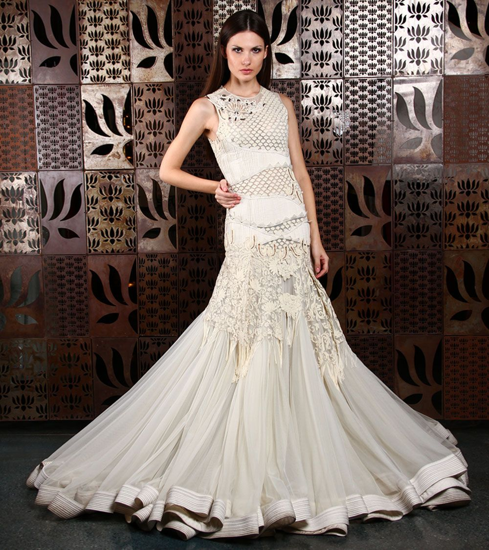 White #Embroidered #Net #Gown by #Rohit #Bal at #Indianroots