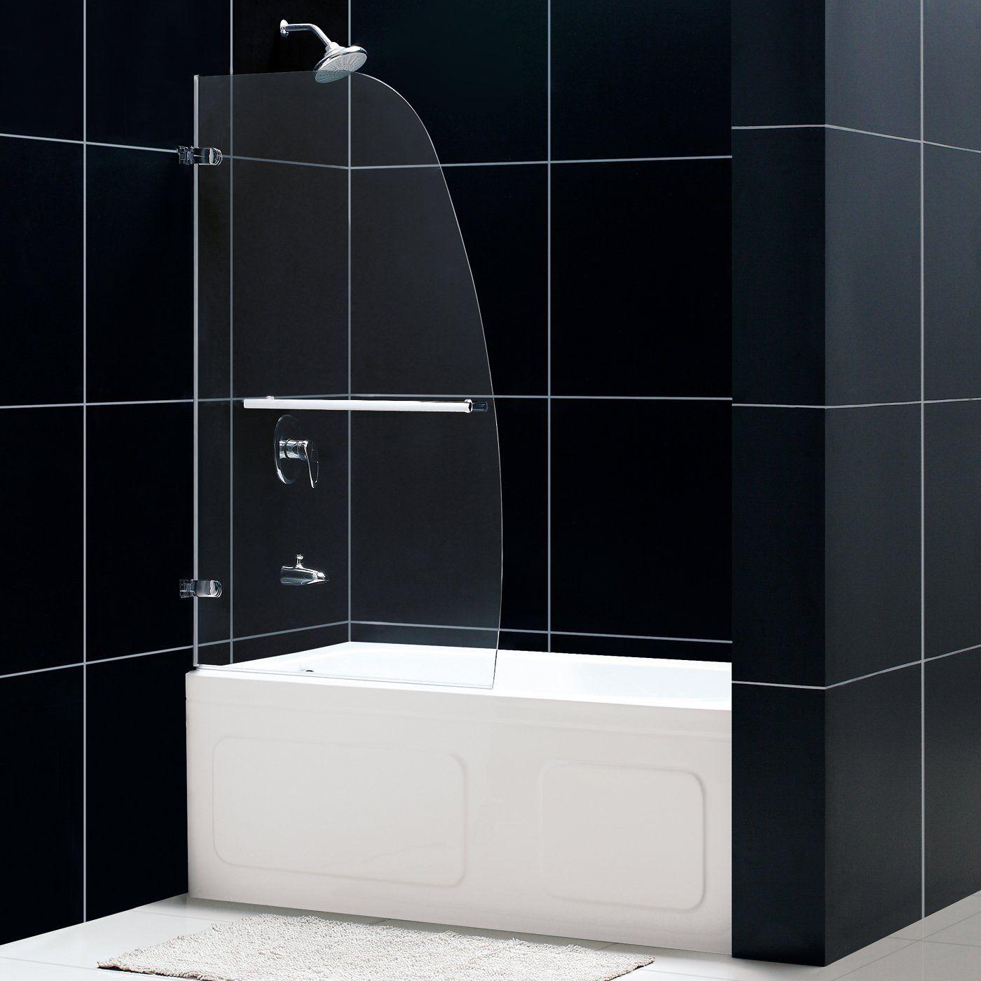 Dreamline shdr 3534586 01 aqua uno single panel hinged tub for 3 panel tub shower doors