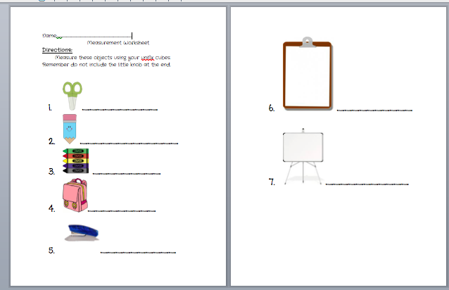 Beginning measurement worksheet using unifix cubes | School ...