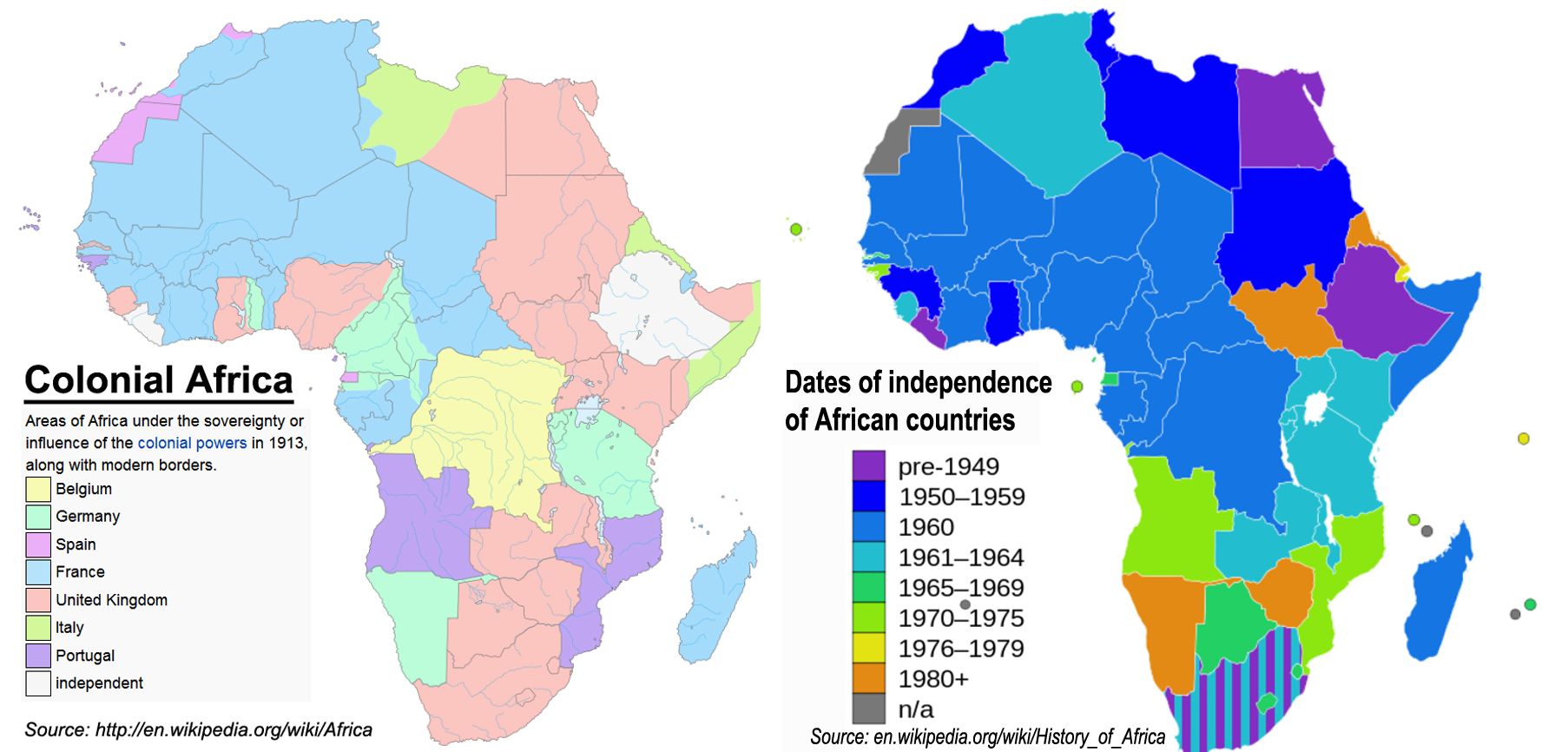 African colonial borders & independence dates | maps | African