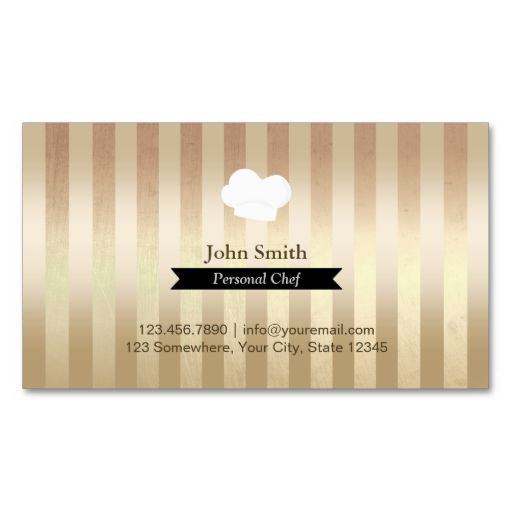 Chef Trendy Gold Foil Stripes Modern Business Card Zazzle Com Personal Chef Business Modern Business Cards Personal Chef