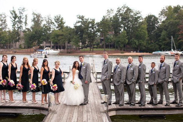 Black Bridesmaid Dresses And Grey Groomsmen Suits Google Search