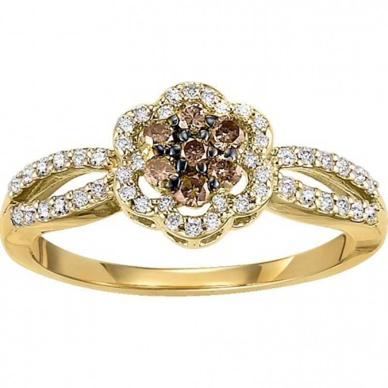 14K yellow gold chocolate diamond ring