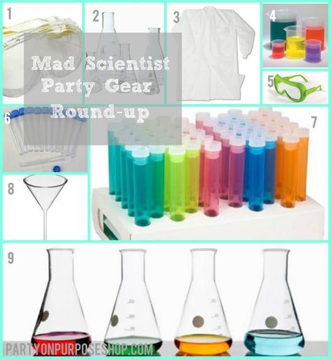 mad scientist party gear roundup, even tells you where to purchase items!!