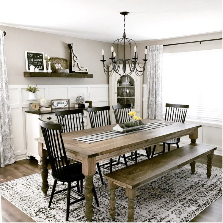 Roudebush Solid Wood Dining Chair Farmhouse Dining Rooms Decor Farmhouse Dining Farmhouse Dining Room
