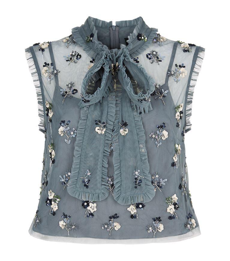 30c0e532066313 NEEDLE & THREAD Ditsy Bow Tie Neck Crop Top. #needlethread #cloth ...